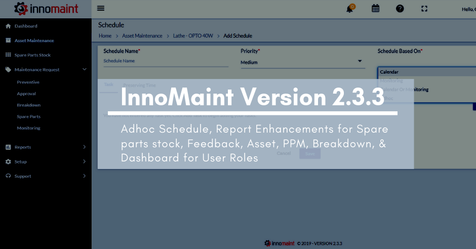 InnoMaint Release of Version 2.3.3 – Released on 11th Feb